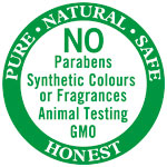 No Parabens Synthetic Colours or Fragrances Animal Testing GMO