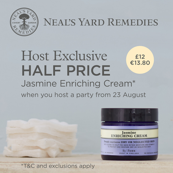Host Exclusive  HALF PRICE Jasmine Enriching Cream* when you host a party from 23 August Only £12/€13.80
